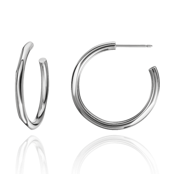 Solid 18ct White Gold Hoop Earrings