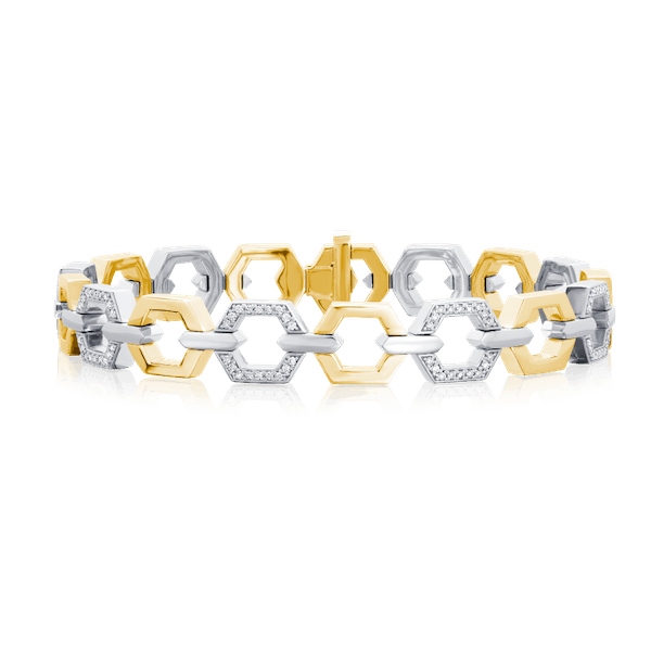Nectar Collection Yellow Gold Bracelet With Diamond Set Links