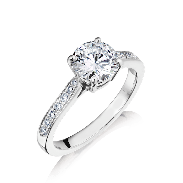Internally Flawless Diamond Engagement Ring With Diamond Set Shoulders