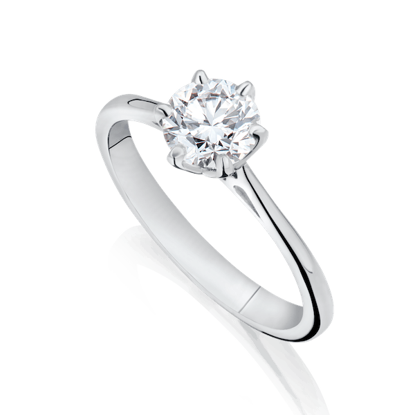 Six Claw Single Stone Diamond Engagement Ring