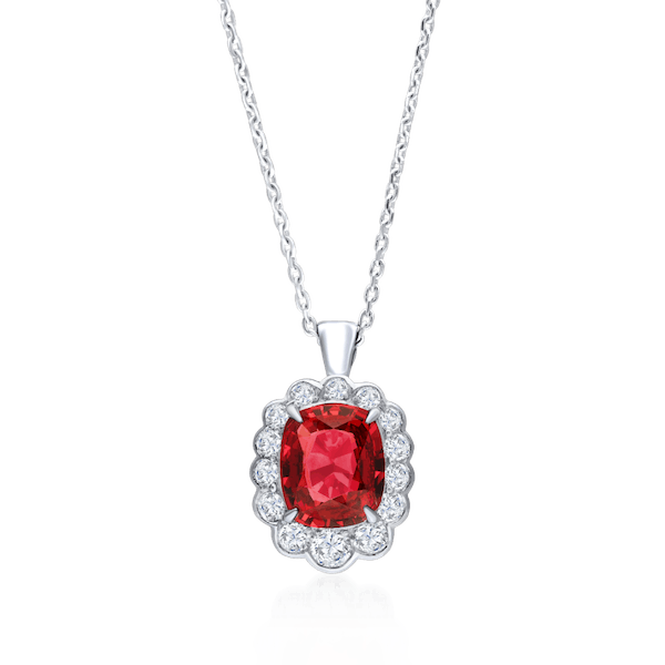 Red Spinel With Graduated Diamond Surround Pendant
