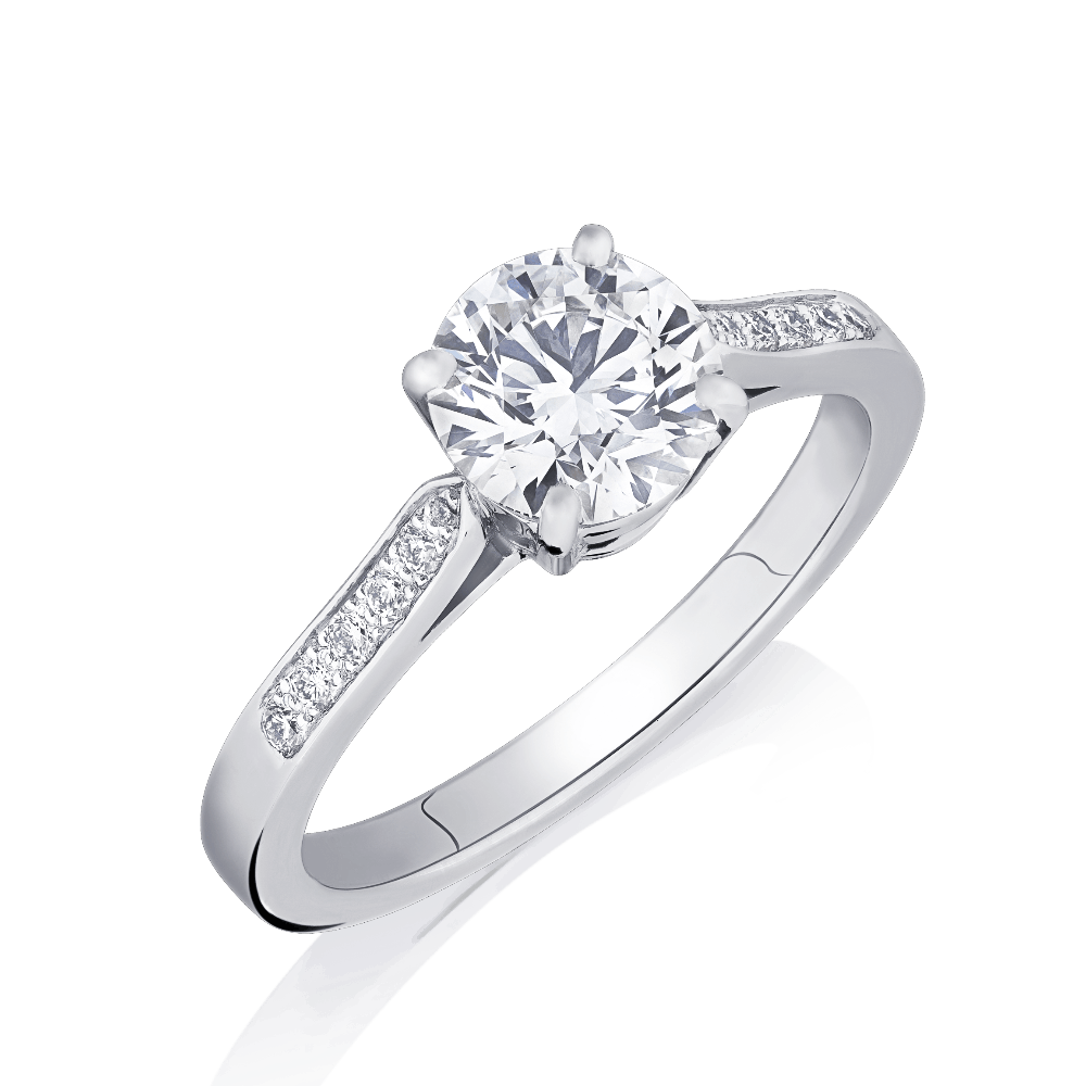 Round Brilliant Cut Diamond Engagement Ring With Diamond