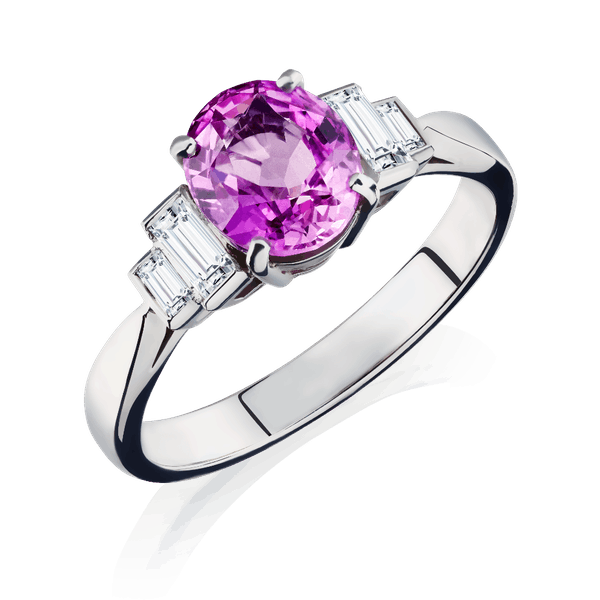 Natural Purple-Pink Sapphire and Diamond Ring