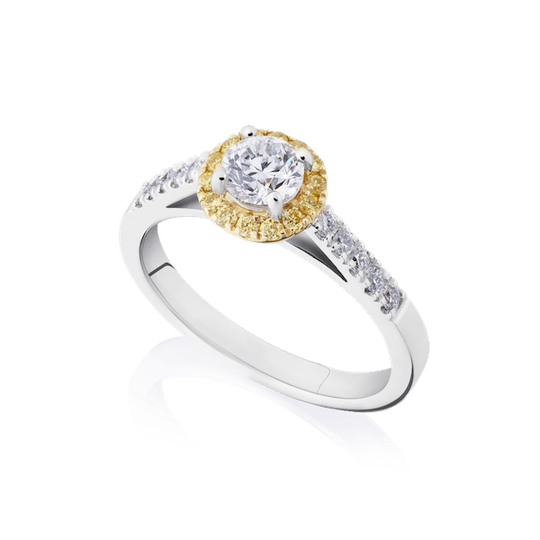 Diamond Engagement Ring With Yellow Diamond Surround
