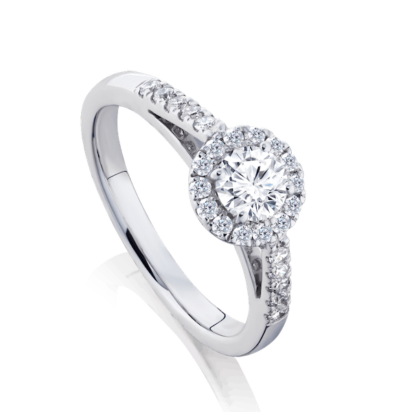 Diamond  Engagement Ring With Diamond Surround