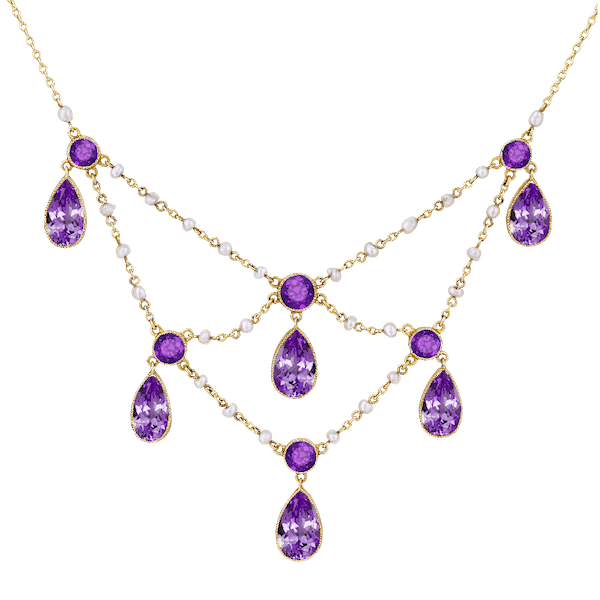 Amethyst and Seed Pearl Fringe Necklet