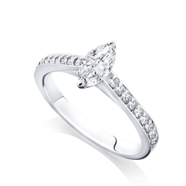Marquise Cut Engagement Ring With Diamond Set Shoulders