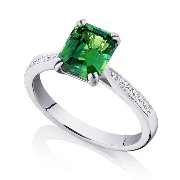 Natural Green Sapphire and Diamond Ring