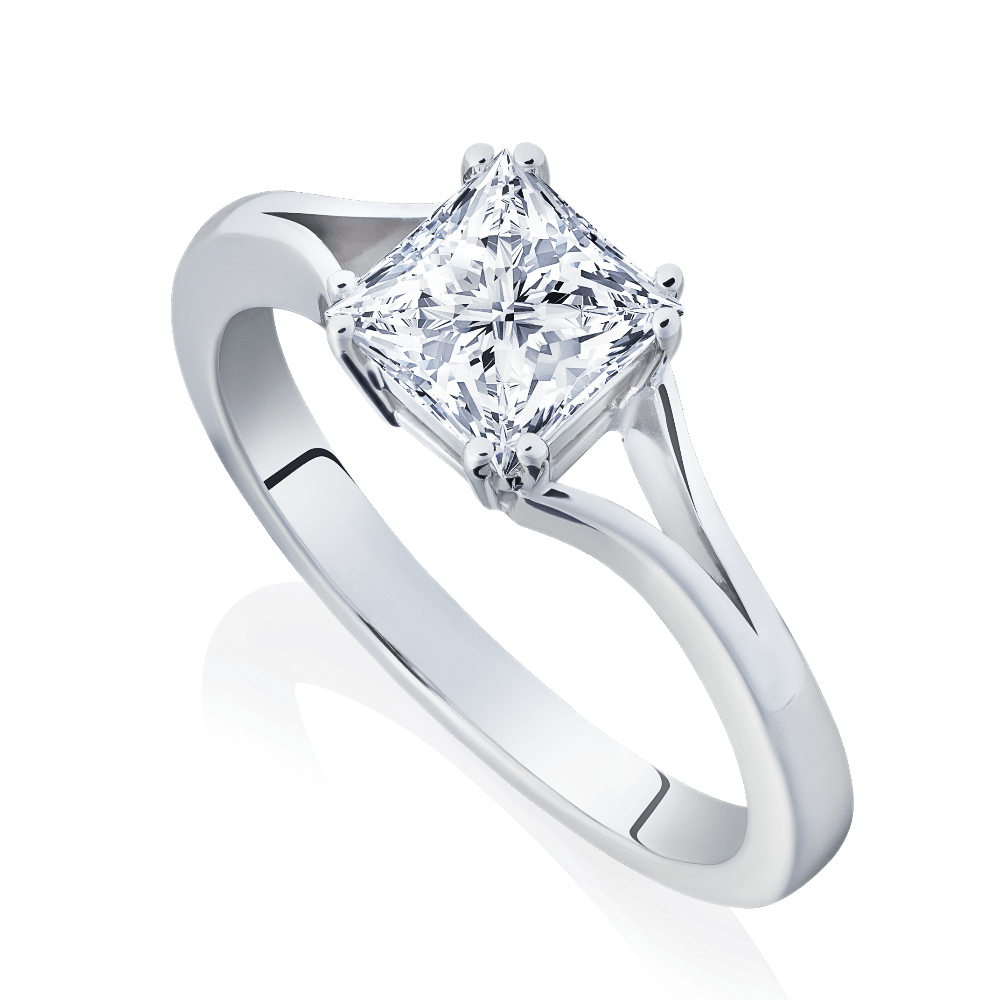 FireMark Princess Cut Diamond Engagement Ring With Split