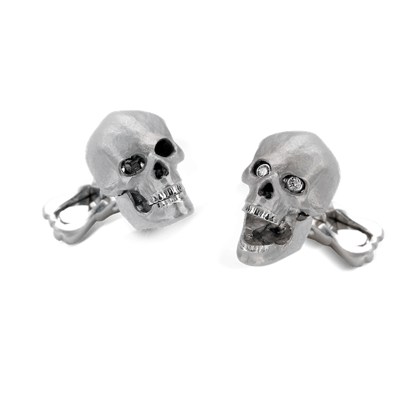 Movable 18ct White Gold and Diamond Skull Cufflinks