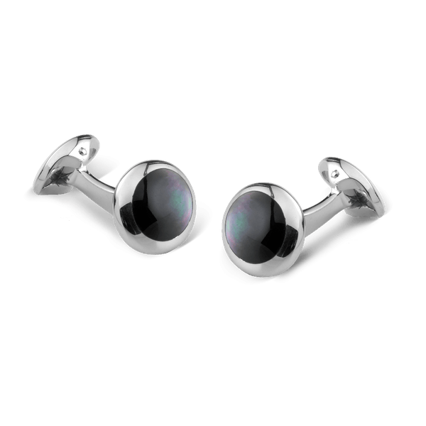 Grey Mother of Pearl Sterling Silver Cufflinks