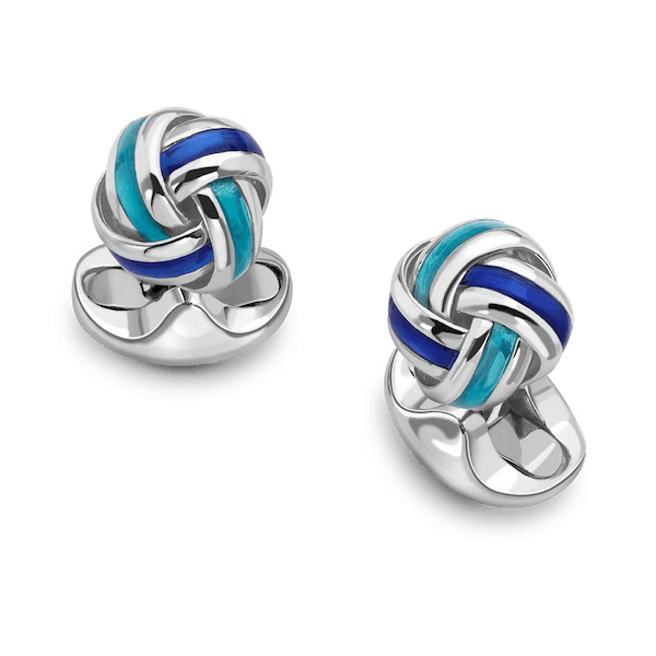Sterling Silver and Enamel Knot Cufflinks
