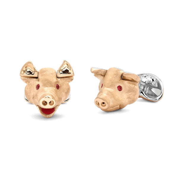 Movable Gold Plated, Sterling Silver Pig Cufflinks