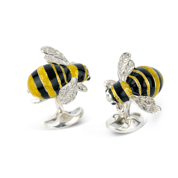 Sterling Silver and Enamel Bumble Bee Cufflinks