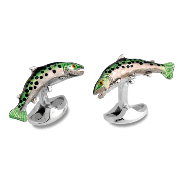 Sterling Silver and Enamel Trout Cufflinks