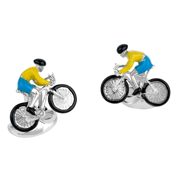 Sterling Silver and Enamel Bicyclist Cufflinks