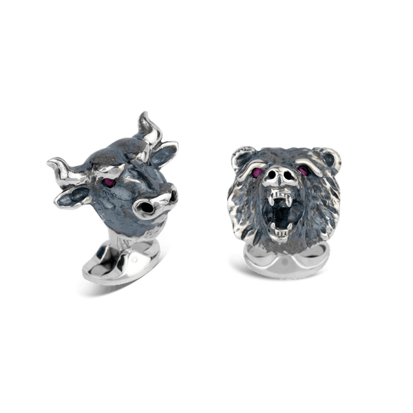 Sterling Silver Bull and Bear Cufflinks With Ruby Eyes