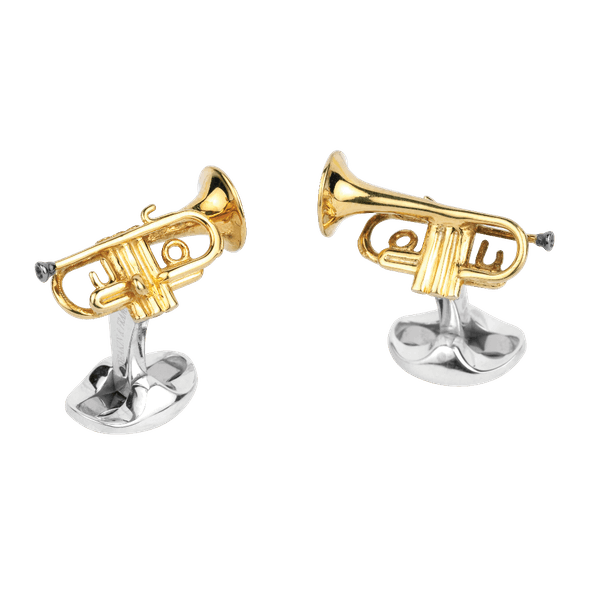 Sterling Silver Gold Plated Trumpet Cufflinks