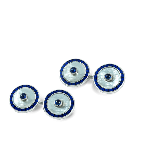18ct White Gold, Mother of Pearl, Enamel and Sapphire Cufflinks