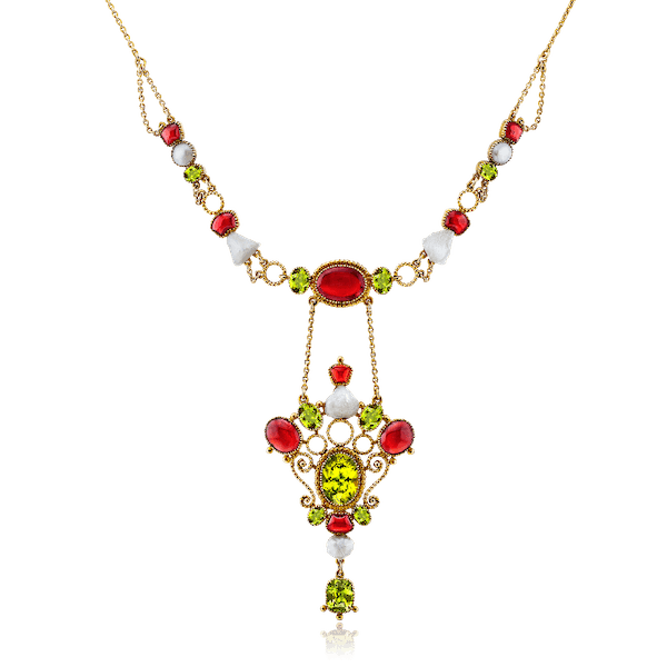 Arts and Crafts Peridot, Garnet and Pearl Necklet