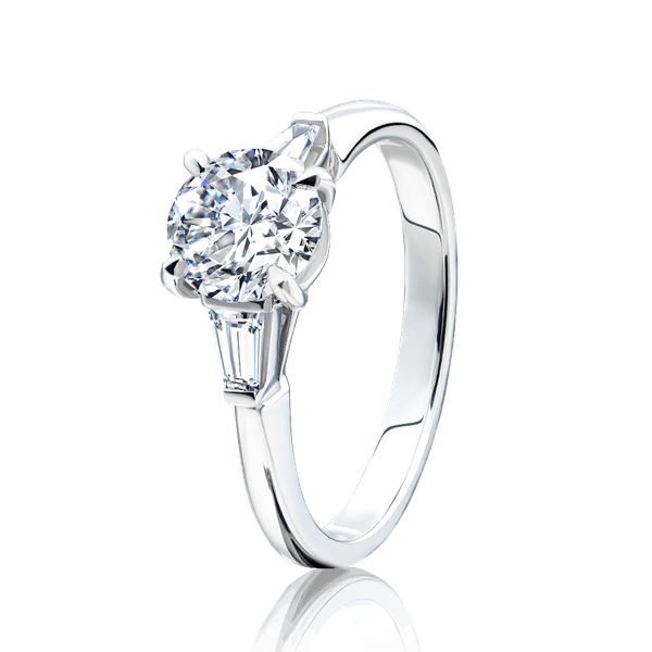 Diamond Engagement Ring With Baguette Cut Shoulders