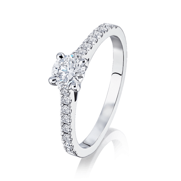 Diamond Engagement Ring With Diamond Set Shoulders