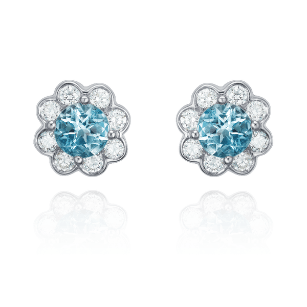 Aquamarine and Diamond Daisy Earrings