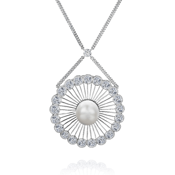 Early Art Deco Natural Pearl and Diamond Pendant